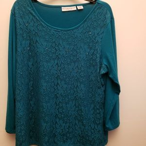 Sag Harbor Stretch Teal Top with Lace